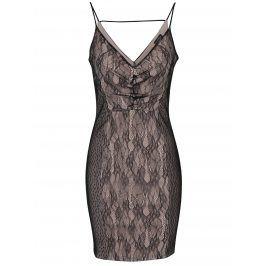 Béžovo-černé krajkové šaty na tenká ramínka Miss Selfridge