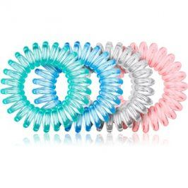 BrushArt Hair Rings gumička do vlasů 4 ks Clear Mix 4 ks