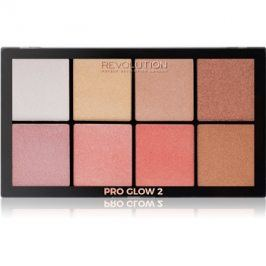 Makeup Revolution Pro Glow 2 paleta rozjasňovačů 8 x 2,5 g
