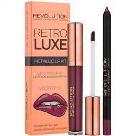 Makeup Revolution Retro Luxe metalická sada na rty odstín Worth It 5,5 ml