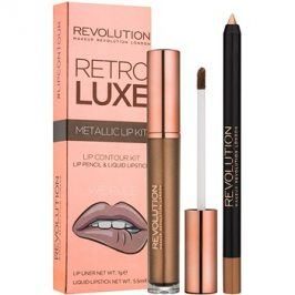 Makeup Revolution Retro Luxe metalická sada na rty odstín We Rule 5,5 ml