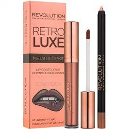 Makeup Revolution Retro Luxe metalická sada na rty odstín Sovereign 5,5 ml