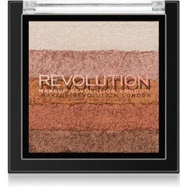 Makeup Revolution Shimmer Brick bronzer a rozjasňovač 2v1 odstín Bronze Kiss 7 g