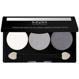 NYX Professional Makeup Triple paleta očních stínů odstín 20 White Pearl/Silver/Charcoal 2,1 g