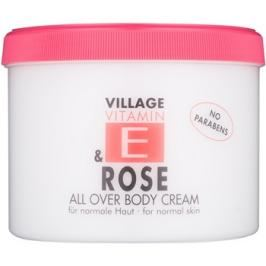 Village Vitamin E Rose tělový krém bez parabenů  500 ml