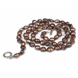JwL Luxury Pearls Dlouhý náhrdelník z čokoládově hnědých perel JL0049