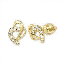Brilio Zlaté náušnice srdce s krystaly 239 001 00583 - 1,30 g