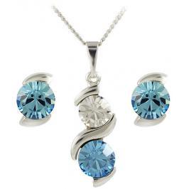 MHM Souprava šperků Sisi Aquamarine 34176 (náušnice, řetízek, přívěsek)