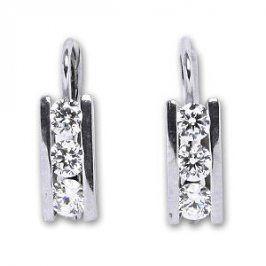 Čištín Stříbrné náušnice s čirými krystaly E0012 CZ