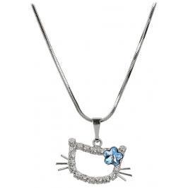 Troli Dívčí náhrdelník Kočička s kytičkou Aquamarine