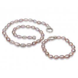 JwL Luxury Pearls Souprava náhrdelníku a náramku z pravých růžových perel JL0137