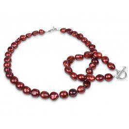 JwL Luxury Pearls Souprava náhrdelníku a náramku z pravých červených perel JL0164