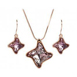 Troli Bronzová sada náhrdelníku a náušnic Twister Antique Pink