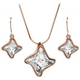 Troli Bronzová sada náhrdelníku a náušnic Twister Crystal