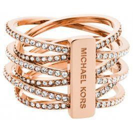Michael Kors Pozlacený ocelový prsten s krystaly MKJ4424791 54 mm
