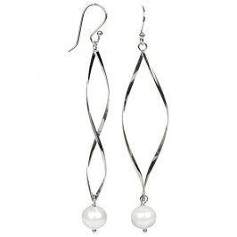JwL Luxury Pearls Dlouhé stříbrné náušnice s pravými bílými perlami JL0279