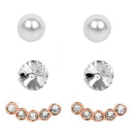 Levien Náušnice Ear Cuff 4 v 1 Rose Gold Crystal White