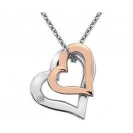 Hot Diamonds Stříbrný náhrdelník s diamantem Glide Double Heart Rose DP623