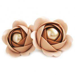 Troli Zlato-béžové visací náušnice kytičky s perlou