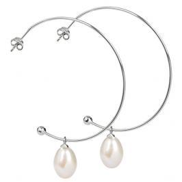 JwL Luxury Pearls Stříbrné půlkruhové náušnice 2v1 s pravými perlami JL0296