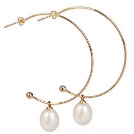 JwL Luxury Pearls Pozlacené půlkruhové náušnice 2v1 s pravými perlami JL0298