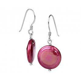 JwL Luxury Pearls Stříbrné náušnice s pravou fuchsiovou perlou JL0301