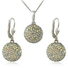 MHM Souprava šperků Kuličky M5 Crystal AB 34159 (náušnice, řetízek, přívěsek)