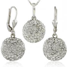 MHM Souprava šperků Kuličky M5 Crystal 34157 (náušnice, řetízek, přívěsek)