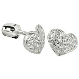Brilio Silver Stříbrné náušnice Srdce 436 001 00251 04 - čiré - 1,20 g
