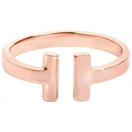 Troli Otevřený růžově pozlacený prsten z oceli 54 mm