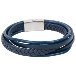 Troli Tmavě modrý náramek z kožených pásků Leather