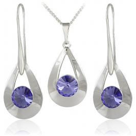 MHM Souprava šperků Karen 2 Tanzanite 34178 (náušnice, řetízek, přívěsek)