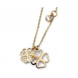 Oliver Weber Pozlacený ocelový náhrdelník s čtyřlístky Fourleaf 11771G