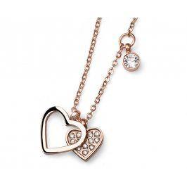 Oliver Weber Růžově pozlacený ocelový náhrdelník se srdíčky Amo 11772RG