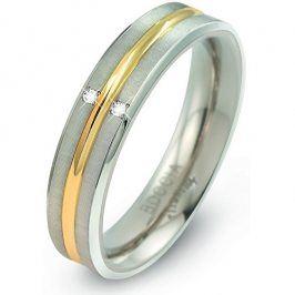 Boccia Titanium Titanový bicolor prsten s brilianty 0144-01 49 mm