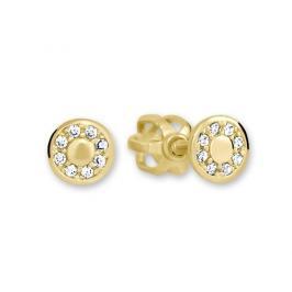 Brilio Zlaté kulaté náušnice s čirými krystaly 239 001 00701
