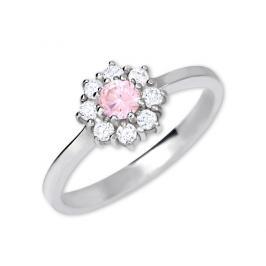 Brilio Silver Stříbrný zásnubní prsten 426 001 00432 04 - růžový 56 mm