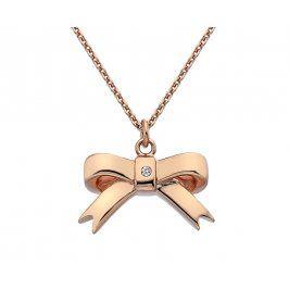 Hot Diamonds Bronzový náhrdelník Mašlička s diamantem Ribbon DP631