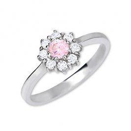 Brilio Silver Stříbrný zásnubní prsten s krystaly 426 001 00432 04 - růžový - 2,30 g - SLEVA