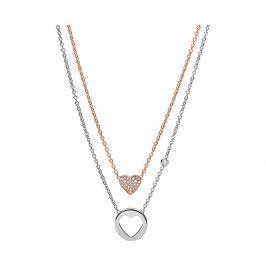 Fossil Dvojitý náhrdelník Double Heart JF02857998