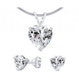 Silvego Stříbrný set šperků s čirým křišťálem JJJHEART01
