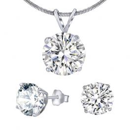 Silvego Stříbrný set šperků s čirým křišťálem JJJS5RC1 (náušnice, přívěsek)