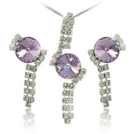 MHM Souprava šperků Rivoli Violet 34142 (náušnice, řetízek, přívěsek)