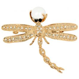 JwL Luxury Pearls Nádherná pozlacená brož Vážka 2v1 s pravou perlou JL0384