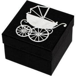 Giftisimo Luxusní dárková krabička se stříbrným kočárkem GF0003