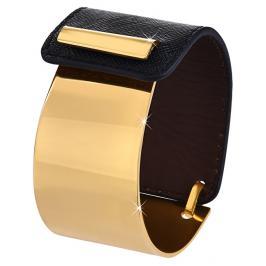 Troli Fashion náramek z oceli a kůže zlatý/černý TO2326
