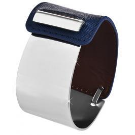 Troli Fashion náramek z oceli a kůže stříbrný/modrý TO2327