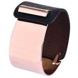 Troli Fashion náramek z oceli a kůže bronzový/černý TO2328