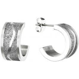 Gravelli Kruhové ocelové náušnice s betonem Split GJEWSSG102UN