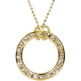 Troli Náhrdelník Circle zlatý 20 mm Crystal